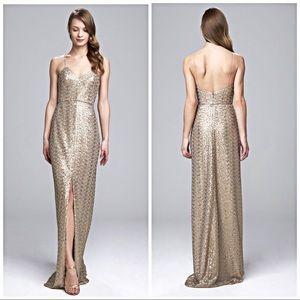 Latte Samantha Stunning V-neck Sequin Gown